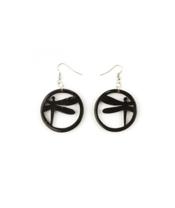 Dragonfly earrings in plain black horn