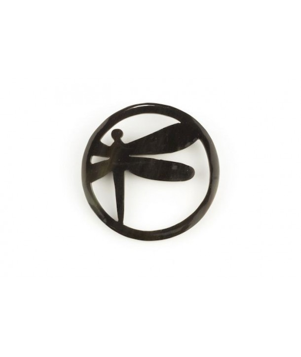 Circled dragonfly brooch in plain black horn