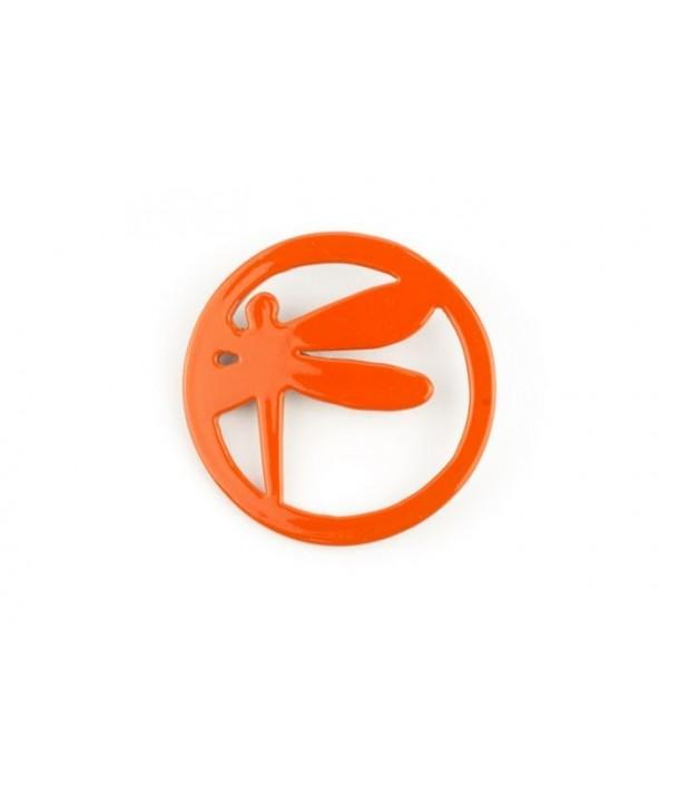 Broche libellule cerclée laquée orange