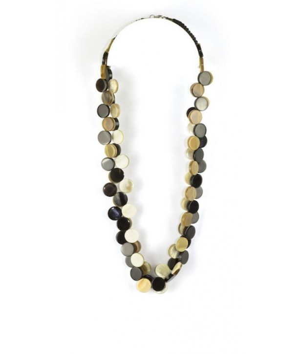 Double pastilles necklace in blond and black horn