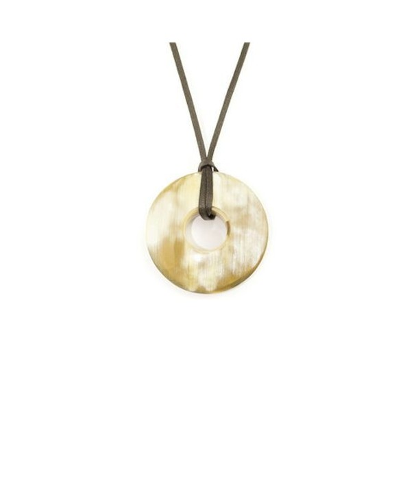 Small thick black ring pendant in blond horn