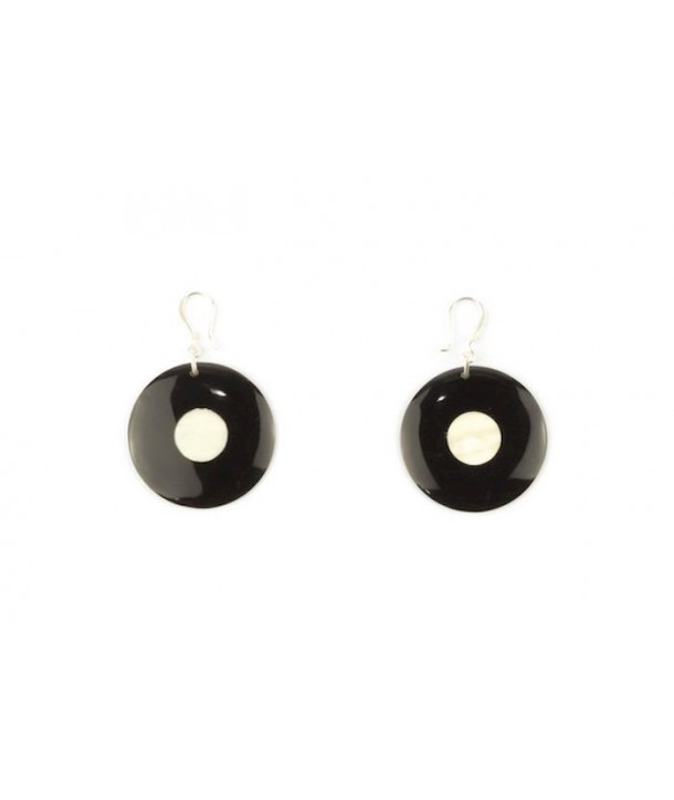 Centrally dotted disc earrings in plain black horn