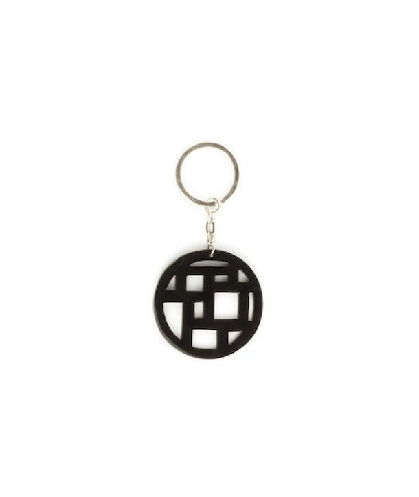 Checkered key holder in plain black horn