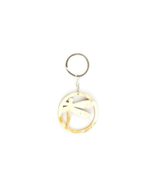 Ringed dragonfly key holder in blond horn