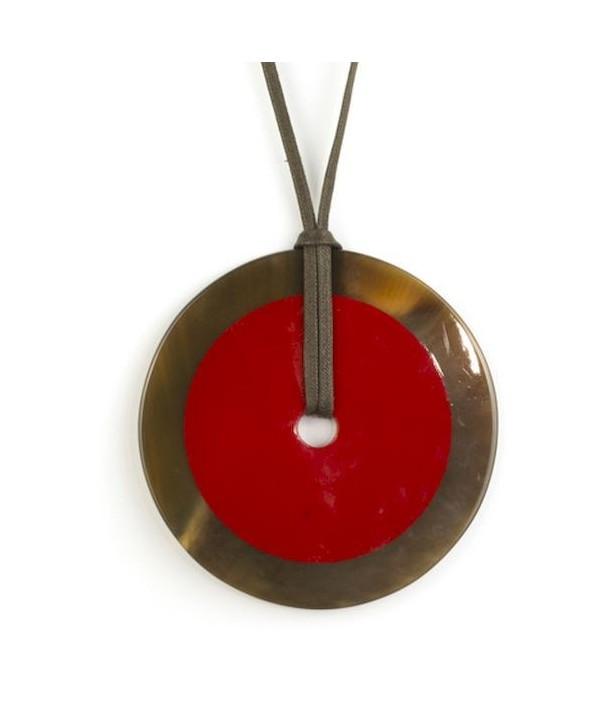 Pendentif grand disque intérieur rouge