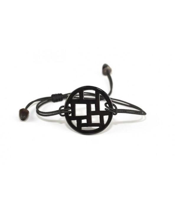Bracelet fil damier en corne noire unie