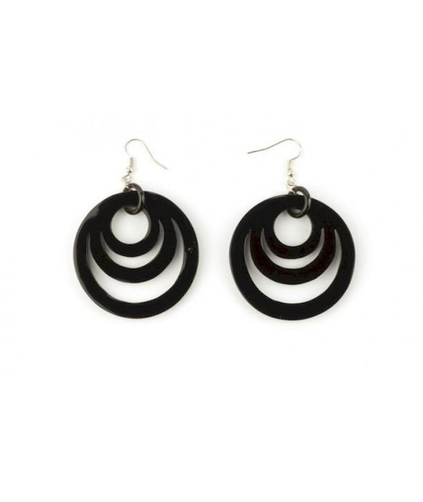 Boucles d'oreilles 3 anneaux ovales en corne noire unie