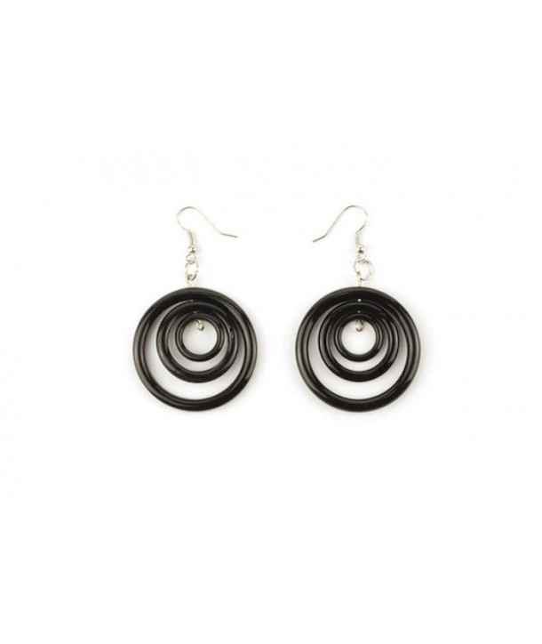 3 round ring earrings in plain black horn