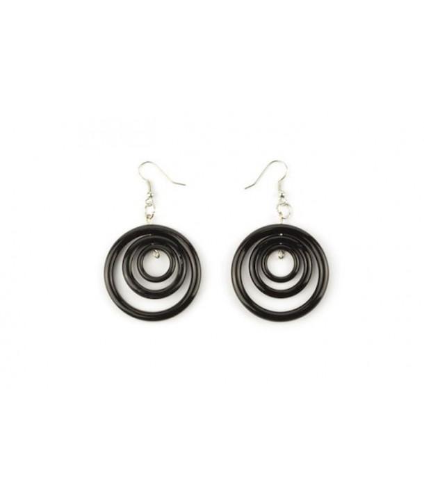 Boucles d'oreilles 3 anneaux ronds en corne noire unie