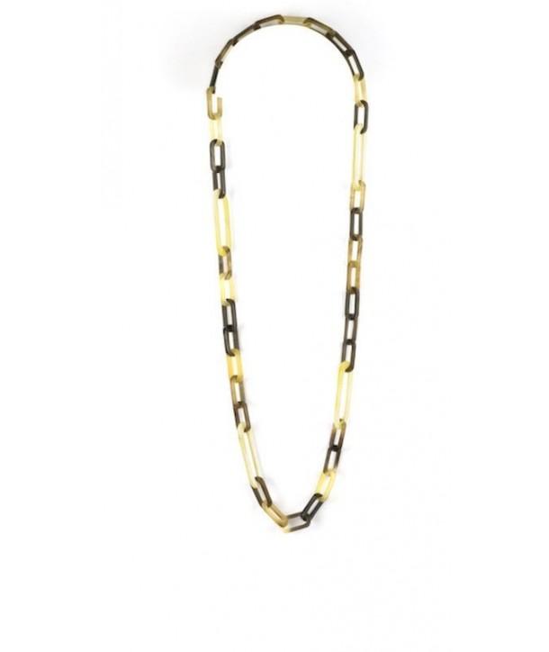 Sautoir anneaux ovales plats 2 tailles en corne blonde