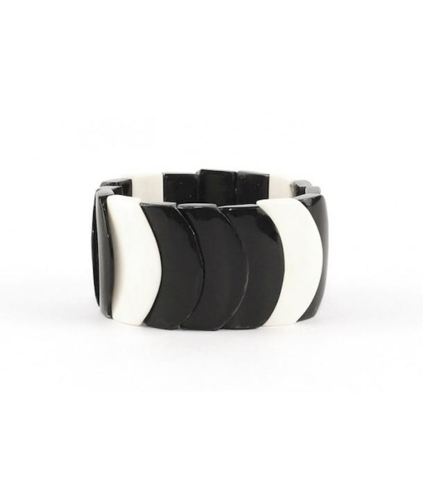 Bracelet écailles en corne noire et os