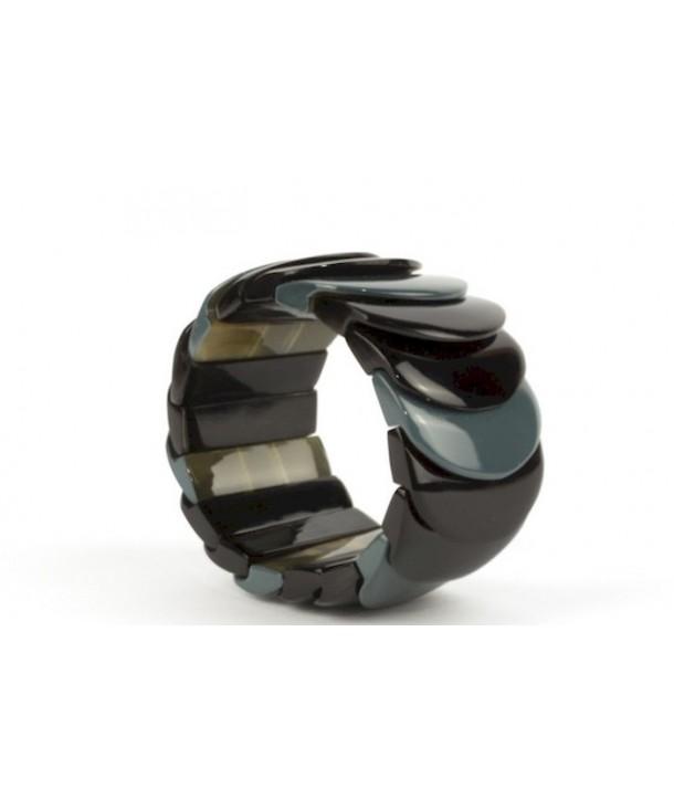Bracelet écailles laqué gris-bleu
