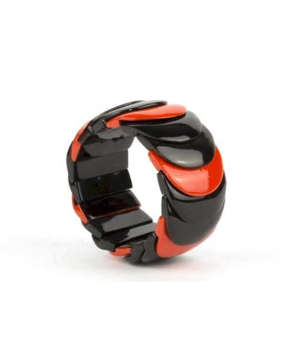 Orange lacquered scale bracelet