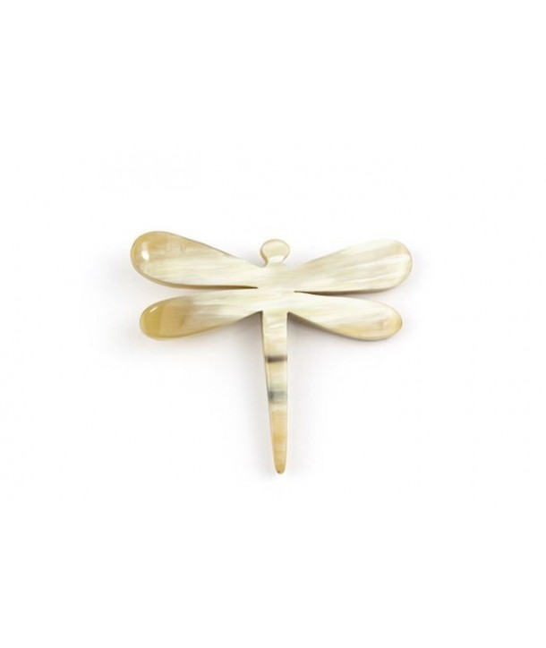 Dragonfly brooch in blond horn