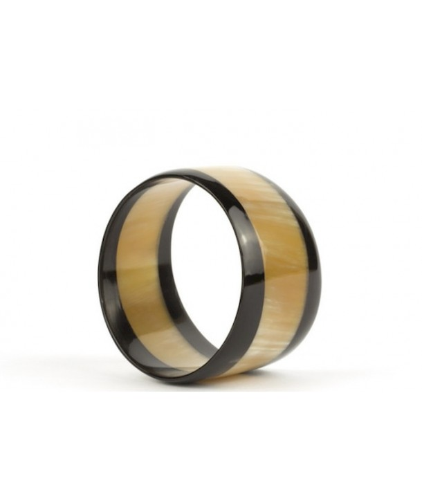 Two-tone trapezoid bracelet in blond and black horn
