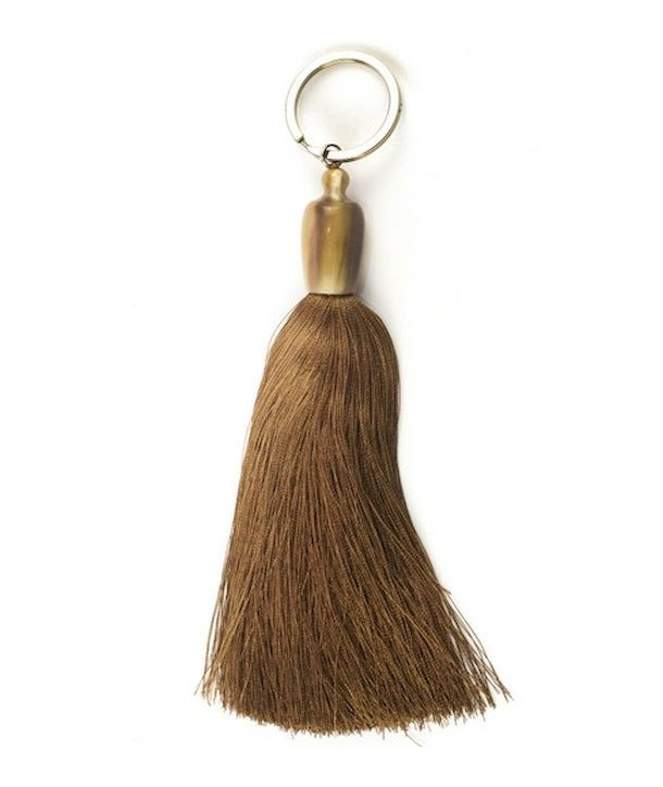 Porte clé pompon en sabot et fil marron-bordeaux