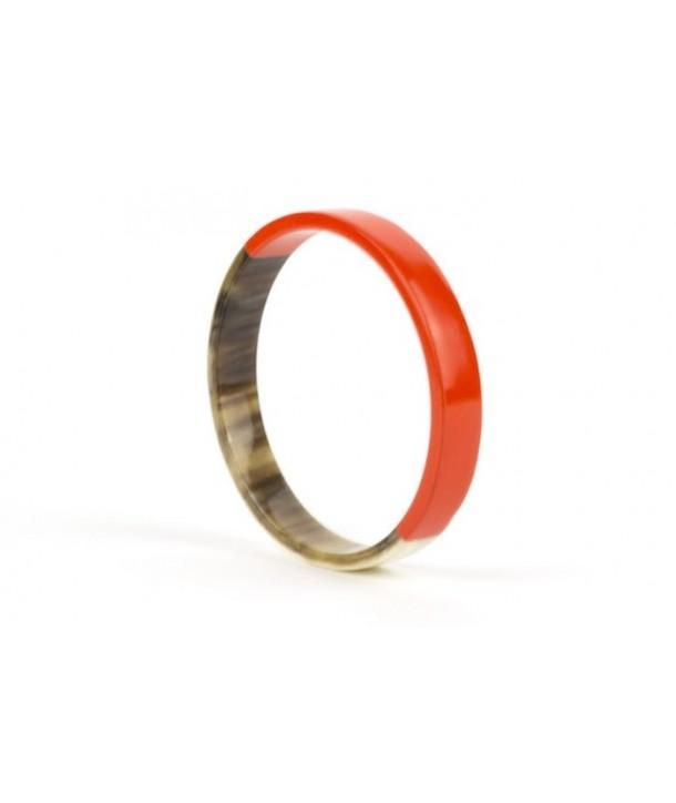 Orange lacquered flat bangle bracelet