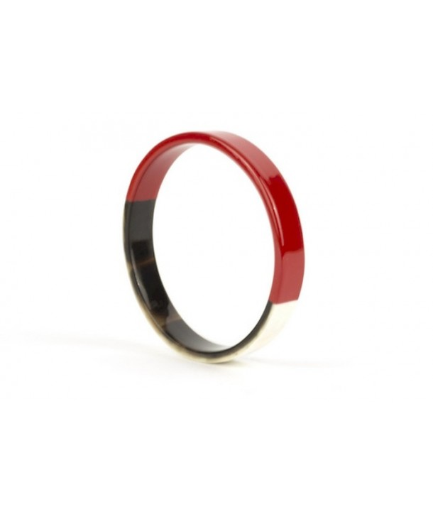 Red lacquered flat bangle bracelet