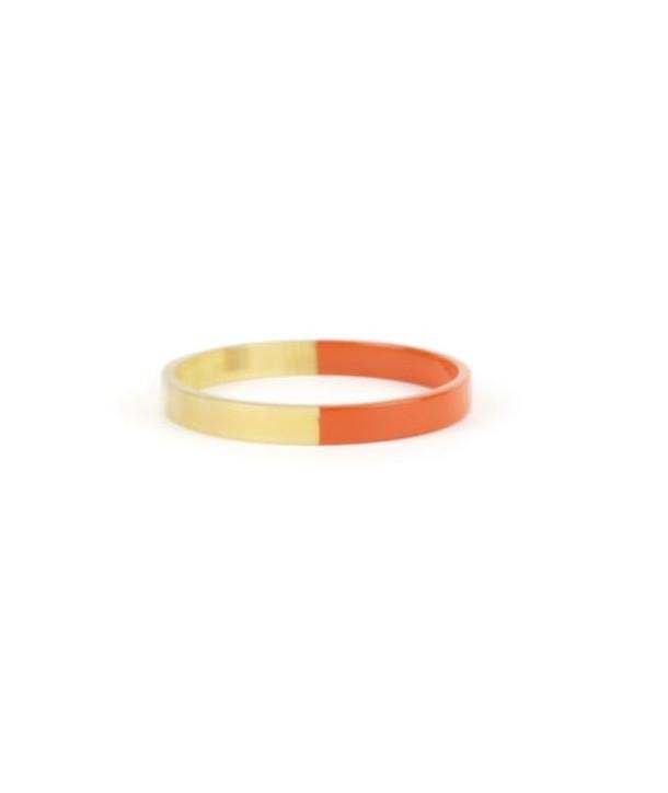 Thin orange lacquered flat bangle bracelet