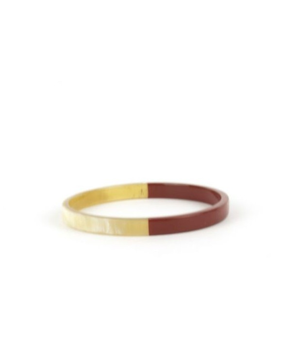 Thin red lacquered flat bangle bracelet