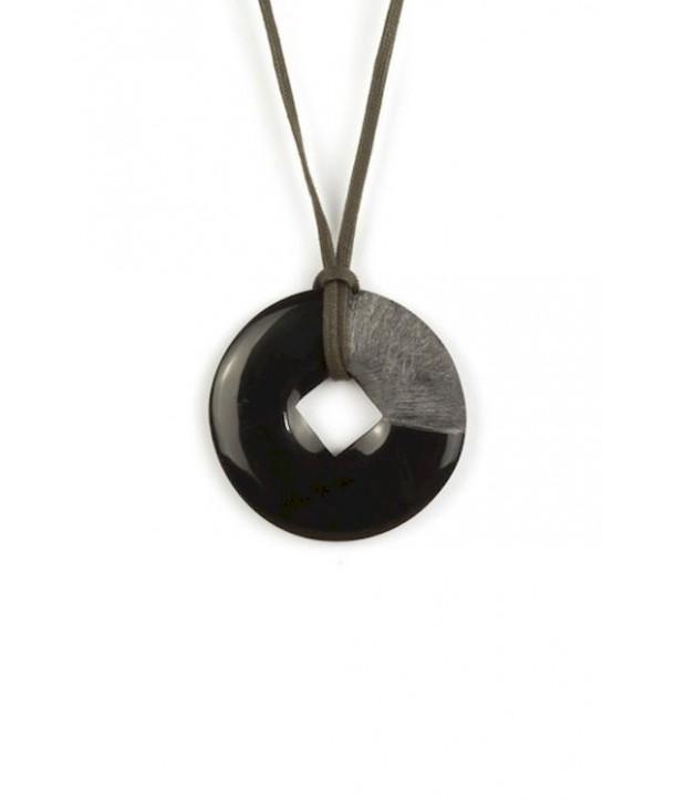 Square cut disc pendant in plain black horn