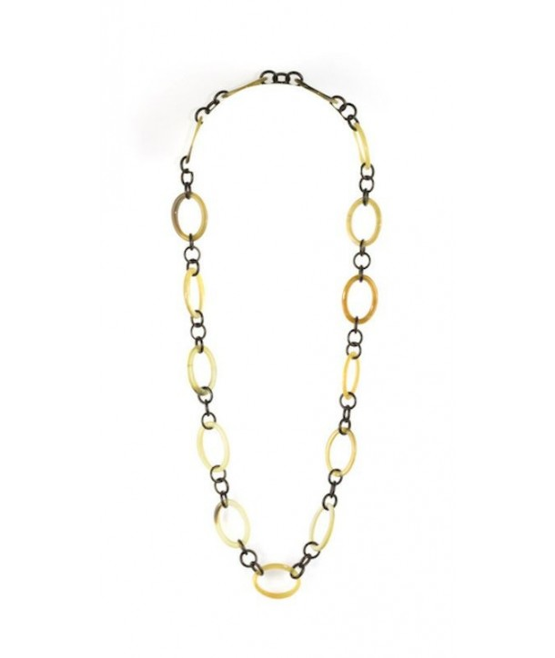 Collier anneaux ovales et petits ronds en corne noire marbrée