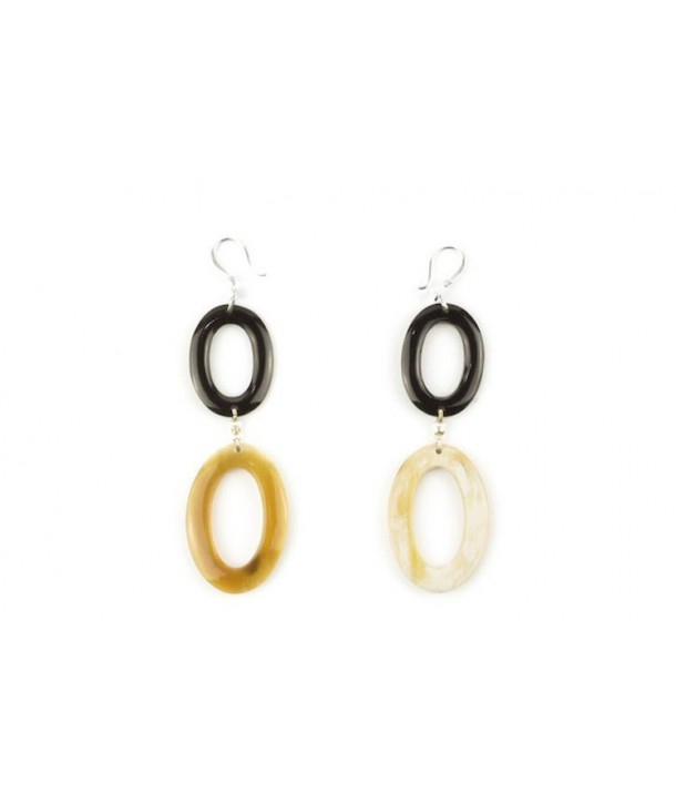 Thin oval double rings earrings in blond and black horn