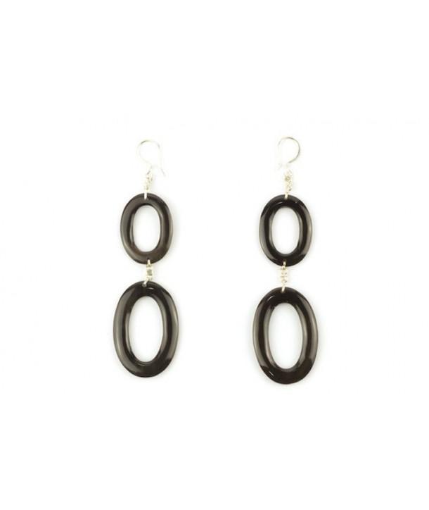 Thin oval double rings earrings in hoof