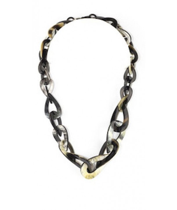 Water drops-shaped necklace in marbled black horn