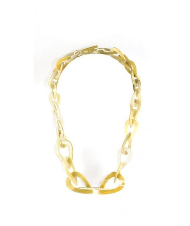Water drops-shaped necklace in blond horn