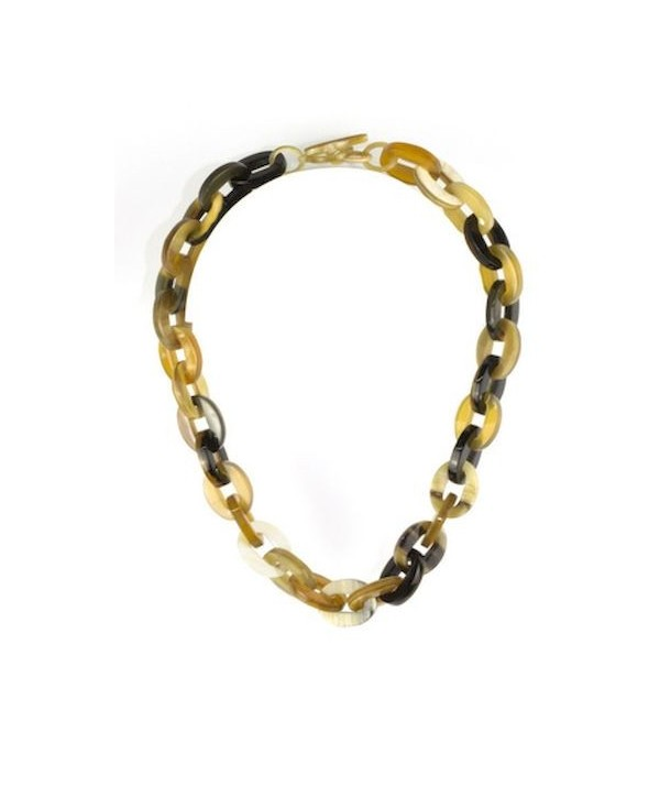 Collier court petits anneaux ovales en corne blonde