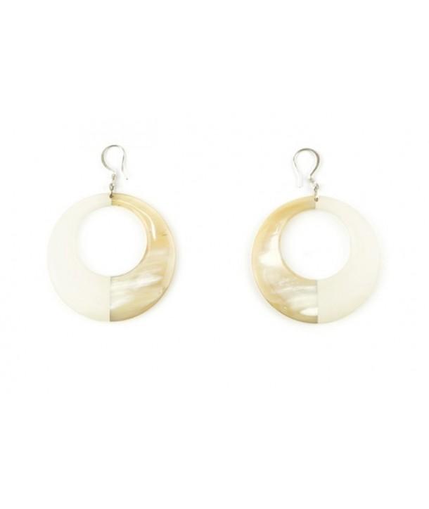 Boucles d'oreilles anneau laqué ivoire