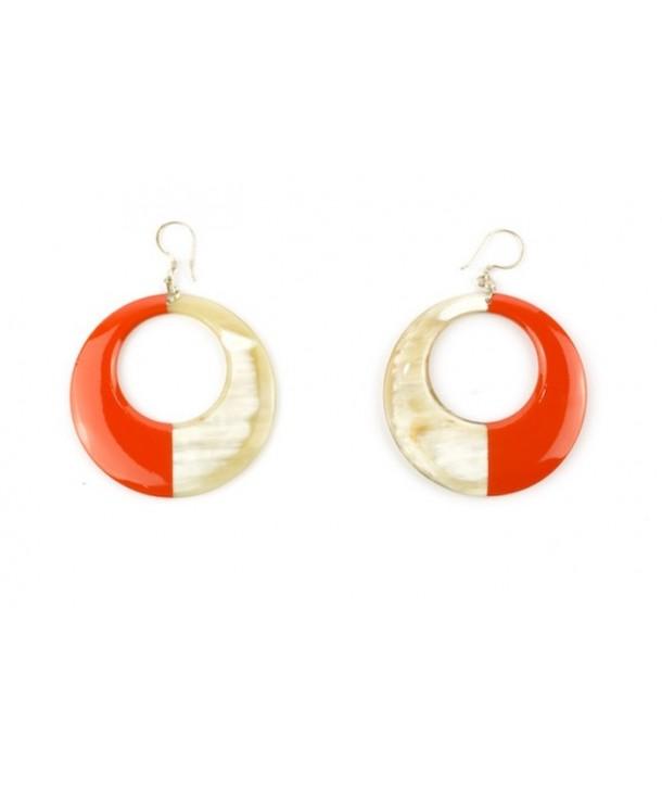 Boucles d'oreilles anneau laqué orange