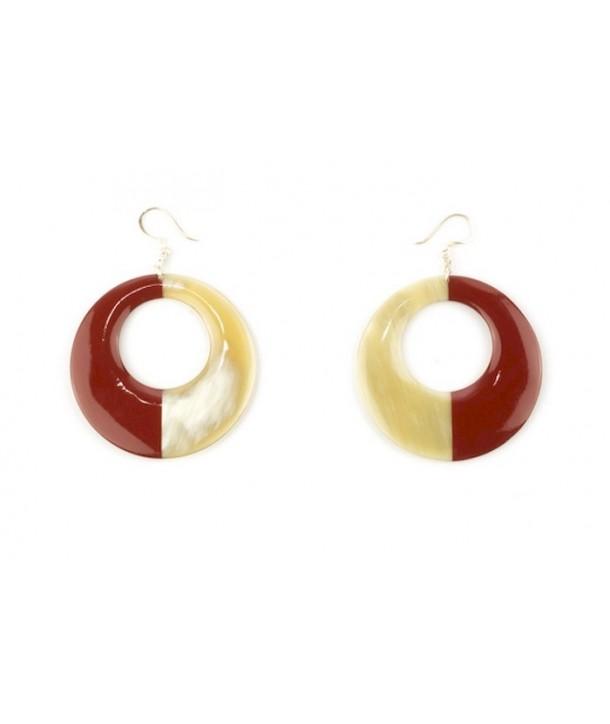 Boucles d'oreilles anneau laqué rouge