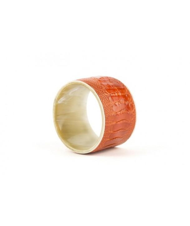 Bracelet large gainé cuir autruche - face externe en corne noire et cuir orange autruche