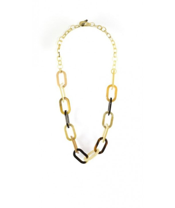 Ring necklace oval and round blond horn