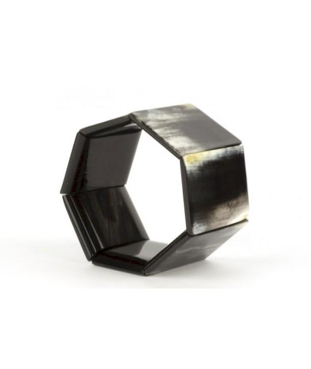 Bracelet articulé 7 plaques en corne noire marbrée