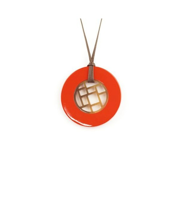 Checkered pendant circled with orange lacquer