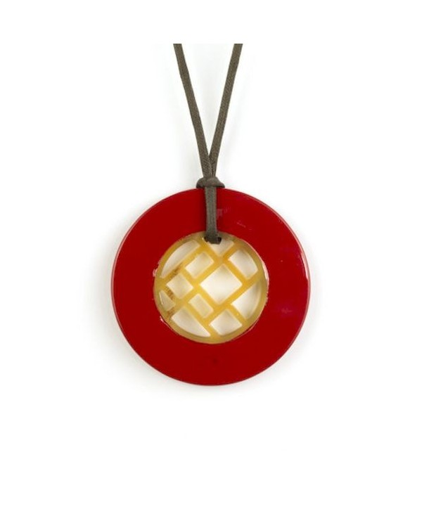 Checkered pendant circled with red lacquer