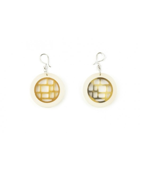 Ivory lacquered checkered earrings