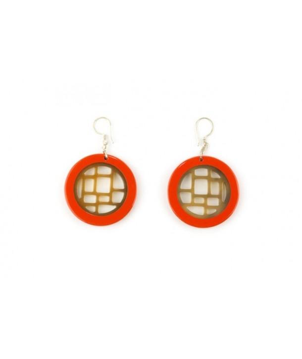 Boucles d'oreilles damier cerclé laqué orange