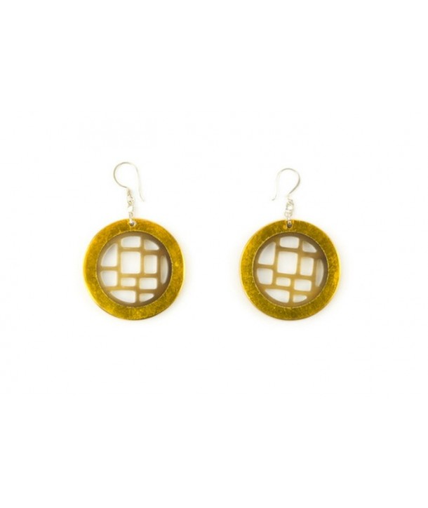 Golden lacquered checkered earrings