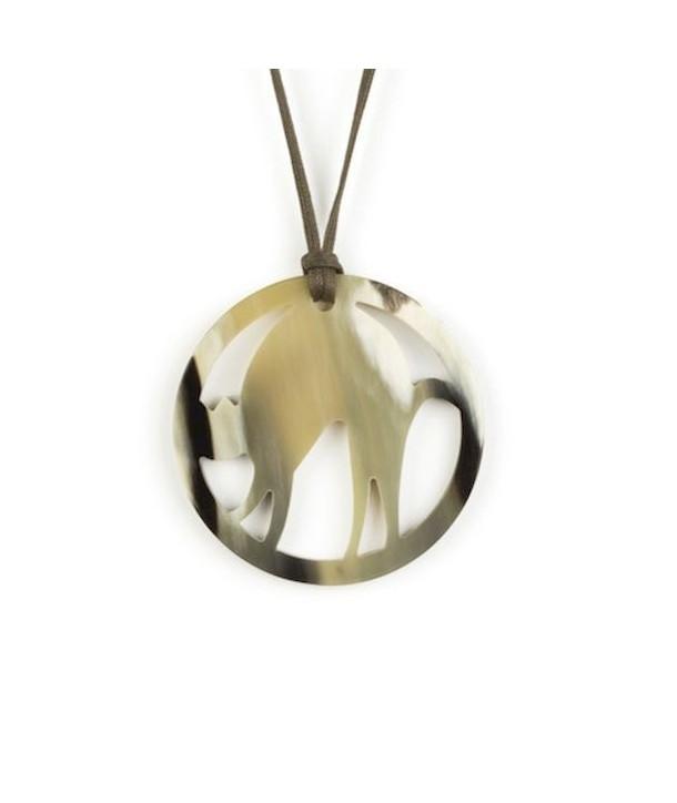 Cat shape pendant in blond horn