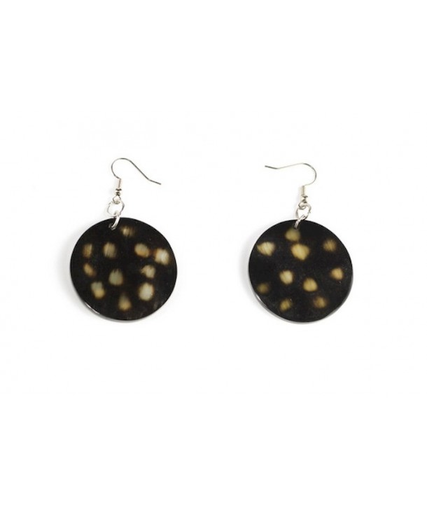 Tortoiseshell-style round earrings in horn