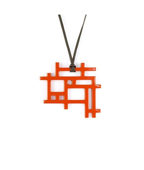 Checkered pendant with orange lacquer