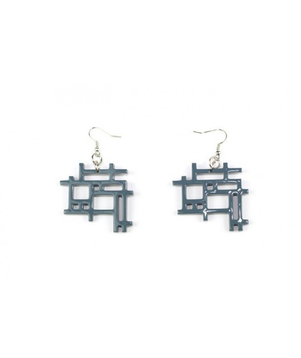 Gray-blue lacquered checkered earrings