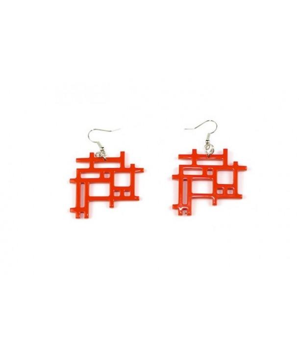 Boucles d'oreilles damier bord libre laquées orange