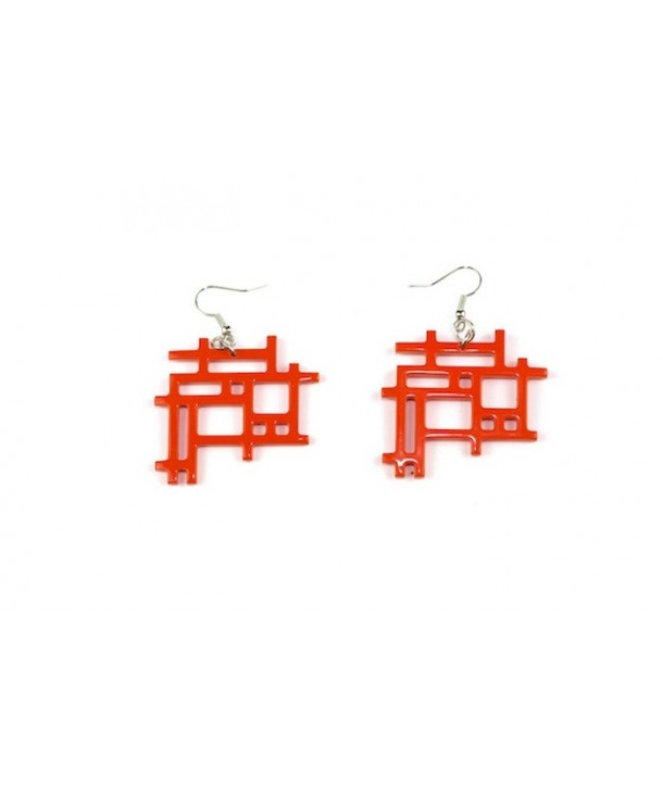 Orange lacquered checkered earrings