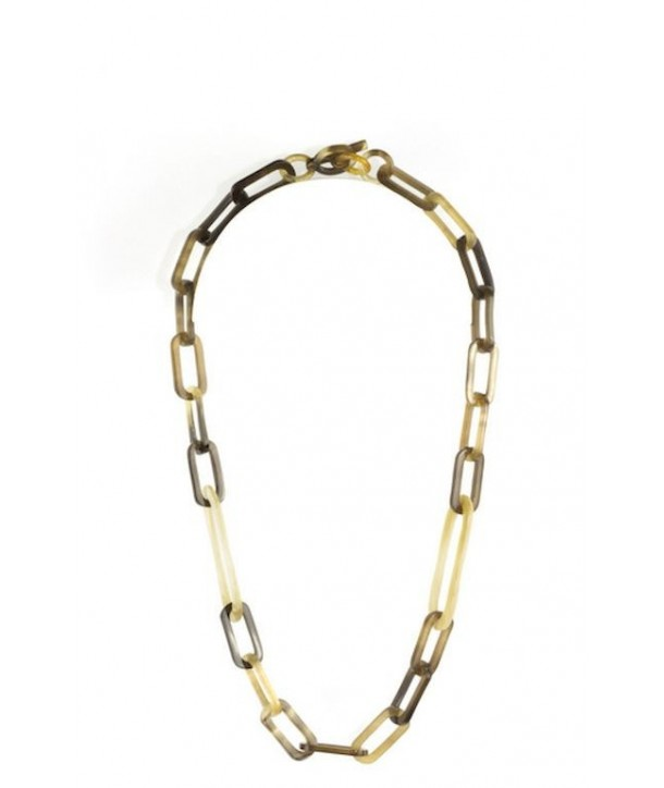 Oval rings necklace in blond horn and hoof