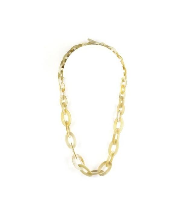 Collier anneaux ovales plats et fins en corne blonde